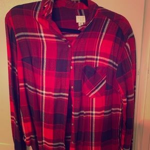 Red navy mock fleece shirt